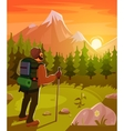 Mountain landscape with tourist on foreground vector image vector image