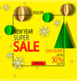 new year sale background with paper christmas tree vector image