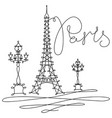 one line sketch eiffel tower in paris vector image