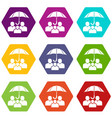 people protection icons set 9 vector image vector image