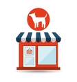 pet shop with dog silhouette vector image