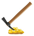 pickaxe with nuggets of gold vector image
