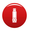 plastic flash drive icon red vector image vector image