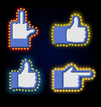 pointers tablets hand glowing lights set retro vector image