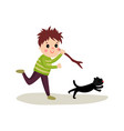 rude boy running after cat with stick in his hand vector image vector image