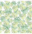 seamless pattern with monstera leaves on a vector image