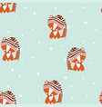 seampless pattern fox vector image vector image