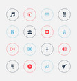 set of 16 editable audio icons includes symbols vector image vector image