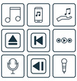 set of 9 music icons includes mike note donate vector image vector image
