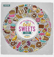 set of sweet food cartoon doodle objects symbols vector image vector image