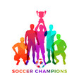 silhouettes soccer players with trophy cup vector image vector image