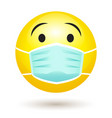 smile emoji wearing face mask coronavirus vector image