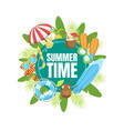 summer time banner template with tropical beach vector image vector image