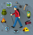 tourist and camping equipment vector image