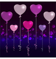 valentines day silver pink and purple balloons on vector image vector image