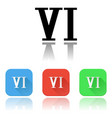 vi roman numeral icons colored set with vector image vector image