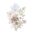 vintage botanical flower flower vector image