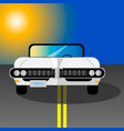 white retro car on a road vector image vector image