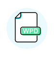 wpd file format extension color line icon vector image vector image