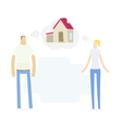 young couple dreaming to their house vector image