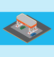isometric gas station with cars gasoline pump on vector image