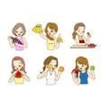 beautiful ladies holding fresh fruits vector image