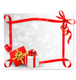 Holiday background with red gift bow and gift box vector image