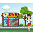 A girl in front of the dvd store vector image vector image