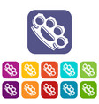 brass knuckles icons set vector image vector image