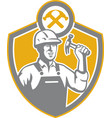 Builder Carpenter Hammer Shield Retro vector image vector image
