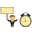businessman with board in hand clock vector image