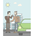 Car salesman giving the car keys to a new owner vector image vector image