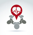 Cardiology medical and society cardiogram heart vector image vector image