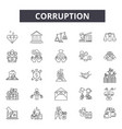corruption line icons signs set outline vector image vector image