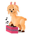 cute llama or lama glama listening to music vector image