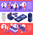 dj music isometric banners vector image vector image