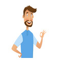 excited man happy smile and shows ok vector image vector image