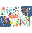 flat active lifestyle infographic template vector image