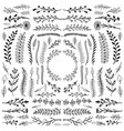 hand drawn floral ornaments scroll shape vector image vector image