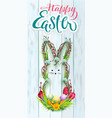 happy easter wreath rabbit hand written vector image