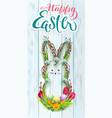 happy easter wreath rabbit hand written vector image vector image