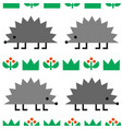 hedgehogs colored geometric shape seamless pattern vector image