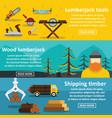lumberjack tools banner horizontal set flat style vector image vector image