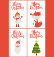 merry christmas posters titles vector image vector image