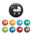 modern baby carriage icons set color vector image vector image