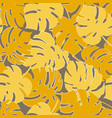 monstera yellow leaf pattern vector image vector image