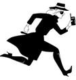 mysterywoman run bw vector image
