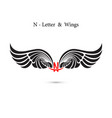 n-letter sign and angel wingsmonogram wing logo vector image vector image