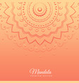 orange background with mandala design vector image vector image