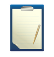 Pen on a white sheet of paper vector image vector image